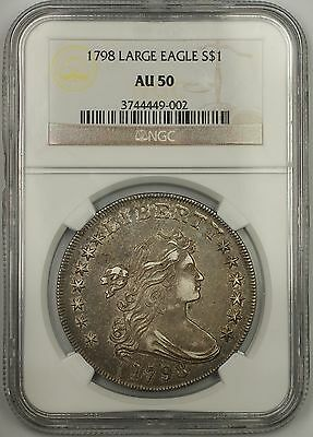 1798 $1 Large Eagle Silver Dollar Coin NGC Very Choice AU 50 B23 BB105 Rare EDS