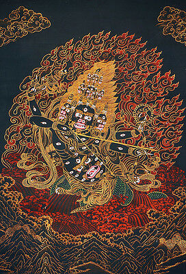 "Luxurious Quality! 50"" Embroidered Brocade Scroll Thangka: Star Hunter Rahula  ="