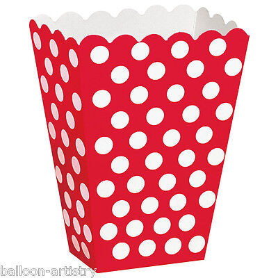8 RED White Polka Dot Spot Style Party Paper Loot Treat Favour Bags Boxes