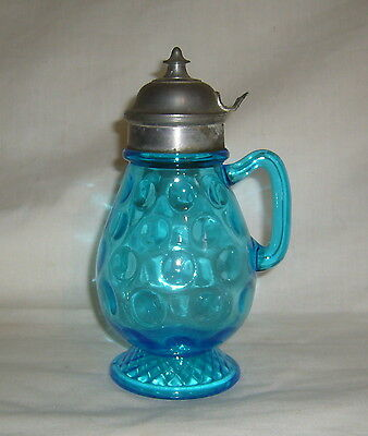 ANTIQUE EAPG CENTRAL GLASS 1885-6 BLUE ROPE & THUMBPRINT #794 SYRUP PITCHER
