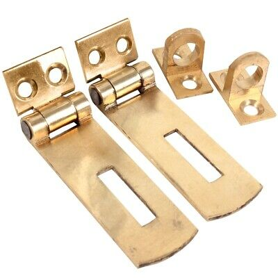 2 x QUALITY SOLID BRASS SMALL 50mm HASP & STAPLE Door Cupboard Cabinet Strap UK