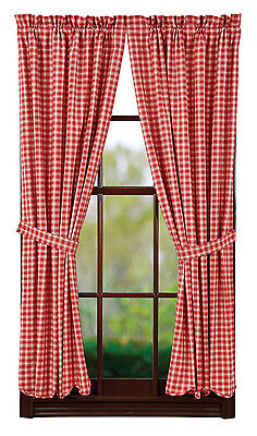 New Primitive Country TRUE RED & CREAM SCALLOPED CURTAIN Window Panels