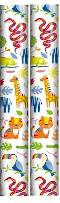 6m Roll Birthday Gift Wrapping Paper 2x3m Red with Coloured Party Hats Boys Girl