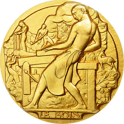 [#87529] FRANCE, Business & industry, The Fifth Republic, Medal, MS(65-70), Gilt