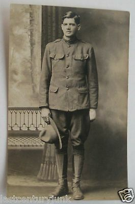 WW 1 Real Photo Postcard For Soldier Wearing Uniform In Standing Postion