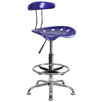 Lot of 24 Flash Vibrant Deep Blue and Chrome Drafting Stool with Tractor Seat