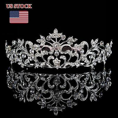 Floral Crystal Tiara Wedding Bridal Party Rhinestone Veil Crown Floret Headband