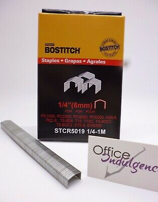 "1 x Bostitch Tacker Staples STCR5019 6mm 1/4 "" 1000Box STCR50196MM1M"