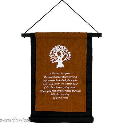 COTTON TREE OF LIFE WALL HANGING BANNER 406 x 310 mm Wicca Witch Pagan Druid