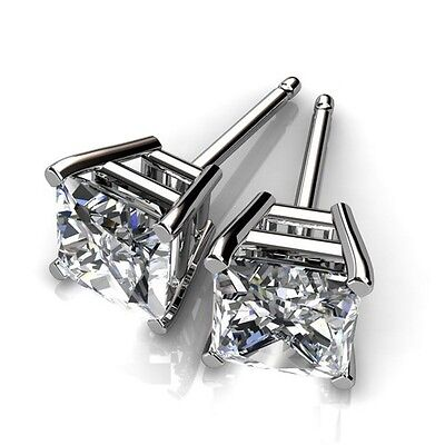 Men's 14k White Gold Plated Square Cut Cubic Zirconia Studs