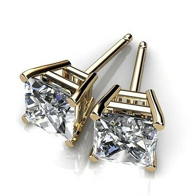 Men's 14k Yellow Gold Plated Square Cut Cubic Zirconia Studs