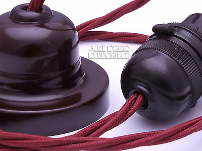 Ceiling Pendant Light Set Original Bakelite Rose Wire Lamp Holder