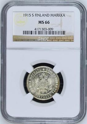 FINLAND under Russia: 1915-S silver Markka; lustrous NGC MS66 - rare this nice!