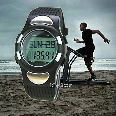 Pedometer Step Walking Distance Calorie Counter Heart Rate Monitor Fitness Watch