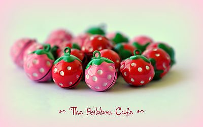 Cat pet metal pet bell pink and red strawberry