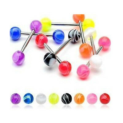 T#157 - 27pc Marble UV Acrylic Tongue Rings 14g Tounge