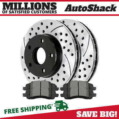 AutoShack PR41371DSZPR Rear Drilled and Slotted Brake Rotor Pair Silver 2 Pieces Fits Driver and Passenger Side