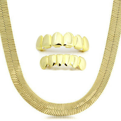 """Mens 14K Gold Plated 11mm Flat 24"""" Herringbone Necklace Chain And Set Of Grillz"""