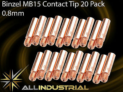 MIG Contact Tip - MB15 24KD - 0.8mm- Binzel Style - M6 x 6mm x 25mm (20 Pack)