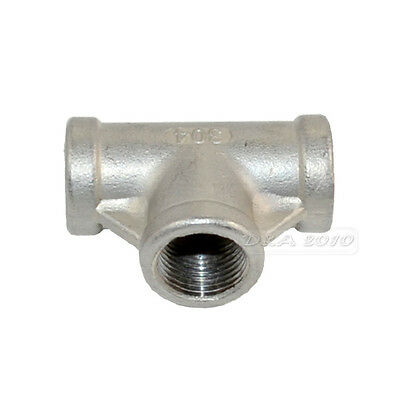 """3/8"""" Tee 3 way Female Stainless Steel 304 Threaded Pipe Fitting BSPT NEW IN"""