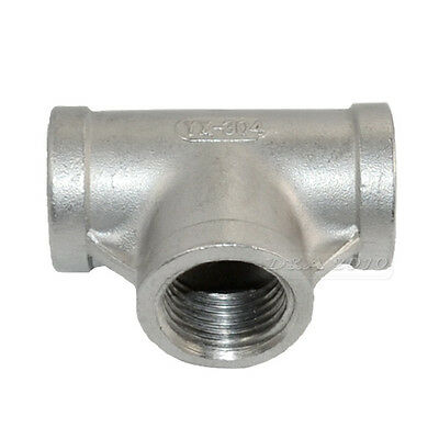 "1/2"" Tee 3 way Female Stainless Steel 304 Threaded Pipe Fitting BSPT NEW IN"