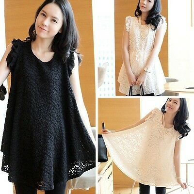 New Maternity dress Long t-shirt top summer Pregnant women sleeveless lace dress