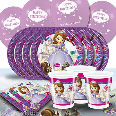 Disney's Sofia The First Princess Birthday Balloon Party Tableware Pack For 8