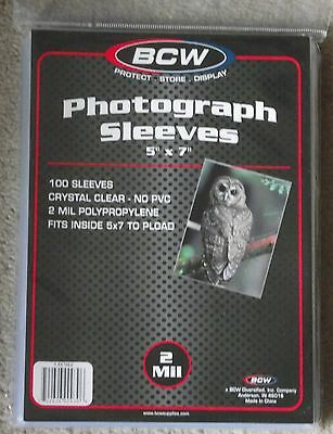 "100 BCW Photograph Postal History Sleeves 7"" x 5"" Postcards Photos Storage"
