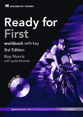 Macmillan Exams READY FOR FIRST 3rd Ed Workbook w Key&AUDIO CD for FCE 2015 @New