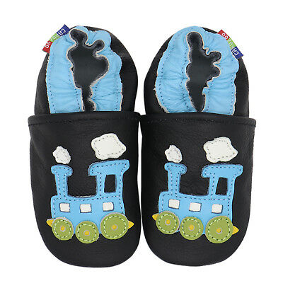 carozoo train blue black 3-4y C2 soft sole leather toddler shoes slippers