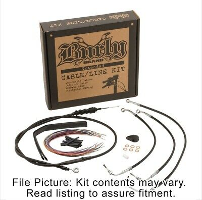 """Burly Black Vinyl Extended Cable Kit for 13"""" Bars Harley Touring W/ABS Non CVO"""