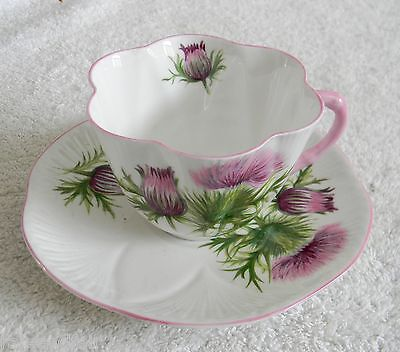 Shelley bone china cup and saucer - Thistle pattern - FREE SHIPPING