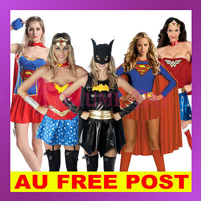 Superhero Superwoman Supergirl WonderWoman Batgirl Halloween Fancy Dress Costume
