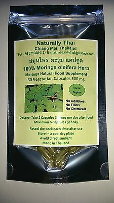 Organic Moringa oleifera 100% - 500mg x 60 Veg Capsules - Natural Superfood