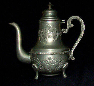 MIDDLE EASTERN ANTIQUE ISLAMIC COPPER BRASS FOOTED COFFEE POT TEAPOT SIGNED