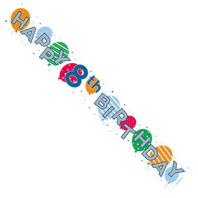 Age 8 Silver Foil Party Banner - Multicoloured Happy 8th Birthday - Boy or Girl
