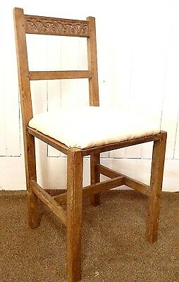 Antique carved limed oak hall chair / bedroom / occasional chair
