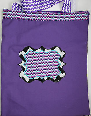 Personalized Embroidered Purple Chevron Sassy Monogram Tote Bag for supplies