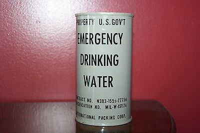 1952 VINTAGE 10 oz EMERGENCEY DRINKING WATER COLD WAR U.S. GOVERNMENT MILITARY