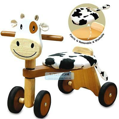 Wooden Paddie Rider * Ride On Cow Baby Activity Walking Toy & Gift 19m+