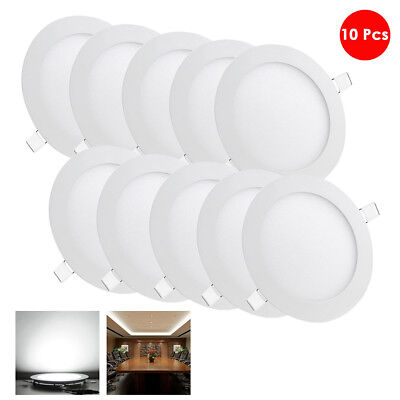 10 Pcs 9W Round Recessed LED Panel Light Ceiling Down Lights Bulbs Cool White