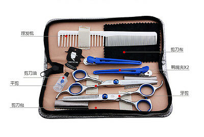"6.0"" Pro Salon Barber Hair Cutting & Thinning Scissors Shears Hairdressing Set"