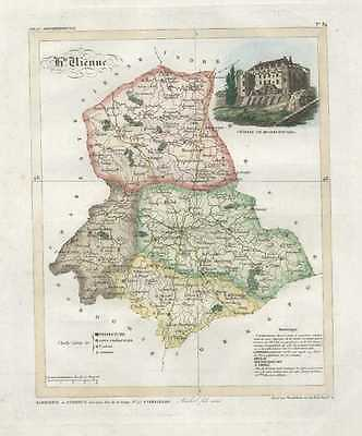 French Department Map: Haute Vienne.  by  Lorrain  c1836