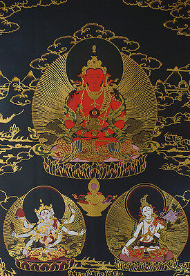 "14""brocaded Wood Scroll Longevity Blessing  Black Thangka: Three Buddhism Lords="