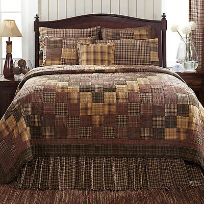 New Country Rustic PRESCOTT QUILT Coffee Brown Rust Tan King Quilted Bedspread