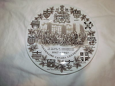 Vtg Wood & Sons English Brown 1867-1967 Centenaire Canada Centennial Plate