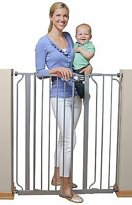 NEW! Regalo Deluxe Easy Step Extra Tall Walk Thru Baby Safety Gate Platinum