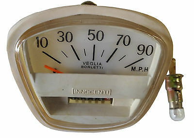 Lambretta Speedometer 0-90M Free Bulb Gp Li Sx Italian Threaded White Speedo