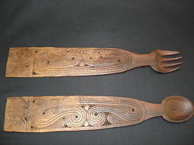 A handsomely carved wooden fork and spoon set from Papua New Guinea