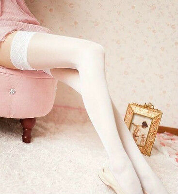 Sexy Womens Lingerie Girls Lace Top Thigh-High Ultra Sheer Socks Stockings